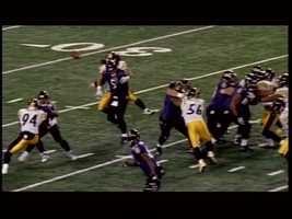 Another great moment against Baltimore: Troy Polamalu hits Joe Flacco and forces a fumble late in the fourth quarter of a December 2010 game. The Steelers get the ball and quickly score, giving them a come-from-behind 13-10 victory.