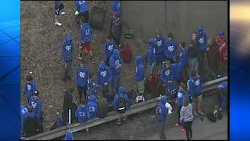 Sky 4 shows the group of students who escaped the burning bus on I-70 in Donegal Township, Washington County