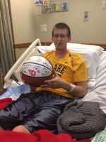 PITTSBURGH HOOPS CONNECTION: Sean's spirits were brightened when he received this autographed ball from his beloved Dayton Flyers. Thanks to Head Coach Archie Miller.