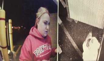This is the last time Karissa Kunco was seen alive. Police say this surveillance image of Kunco at an ATM on the night of her death shows her wearing a pink sweatshirt that was found over her body the next day.
