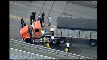 A semi truck was involved in a crash on the Homestead Grays Bridge.