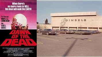 """Dawn of the Dead"" (1978) - Monroeville Mall was taken over by the undead in George Romero's classic zombie flick. Some of the filming took place during the holiday shopping season (after the mall had closed for the day and those pesky customers were gone).Gimbels photo courtesy of Monroeville Historical Society"