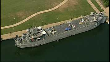 The LST 325 docked on the North Shore.