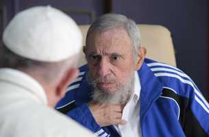 Pope Francis meets Fidel Castro in Havana, Cuba, Sunday, Sept. 20, 2015. The Vatican described the 40-minute meeting at Castro's residence as informal and familial, with an exchange of books.