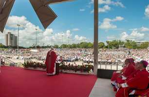 In this photo taken on Monday, Sept. 21, 2015, Pope Francis celebrates a Mass in the Plaza of the Revolution, in Holguin, Cuba.