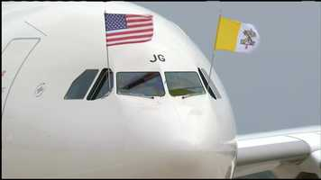 Pope Francis' plane arrives in the United States