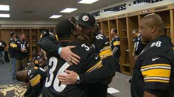 Jerome Bettis and Brett Keisel share a hug