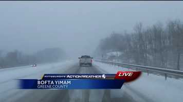 Friday: Pittsburgh's Action News 4 reporter Bofta Yimam reported live from her drive back to Pittsburgh. Here is a look at I-79 in Greene County at 5 p.m.