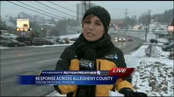 Friday: Reporter Marcie Cirpriani live in Monroeville just after snow began to fall around 5 p.m.