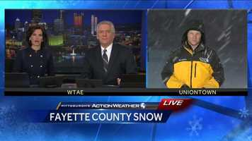 Anchors Wendy Bell and Mike Clark talk with Reporter Bob Hazen live in Fayette County at 11pm on Friday night.