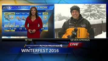 Meteorologists Ashley Dougherty and Steve MacLaughlin covering the snow during the 8am hour on Saturda