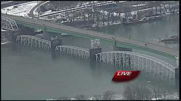 Sky 4 shows the old span sitting peacefully in the Allegheny River next to the new Hulton Bridge.