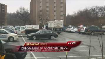 A large police response was seen Monday at the Laurel Village apartment complex in Penn Center East.