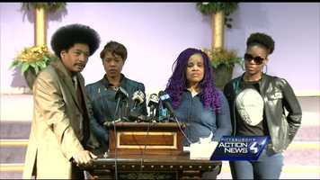 Family members of the Wilkinsburg backyard ambush victims held a news conference at The Lighthouse church.