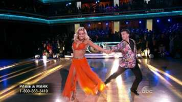 """The professional fighter danced the Foxtrot and looked sharp. Bruno said she had """"wonderful natural lines"""" but needs to work on her timing and control.Carrie Ann said she was fearless. Len liked the musicality and said it was """"terrific."""""""