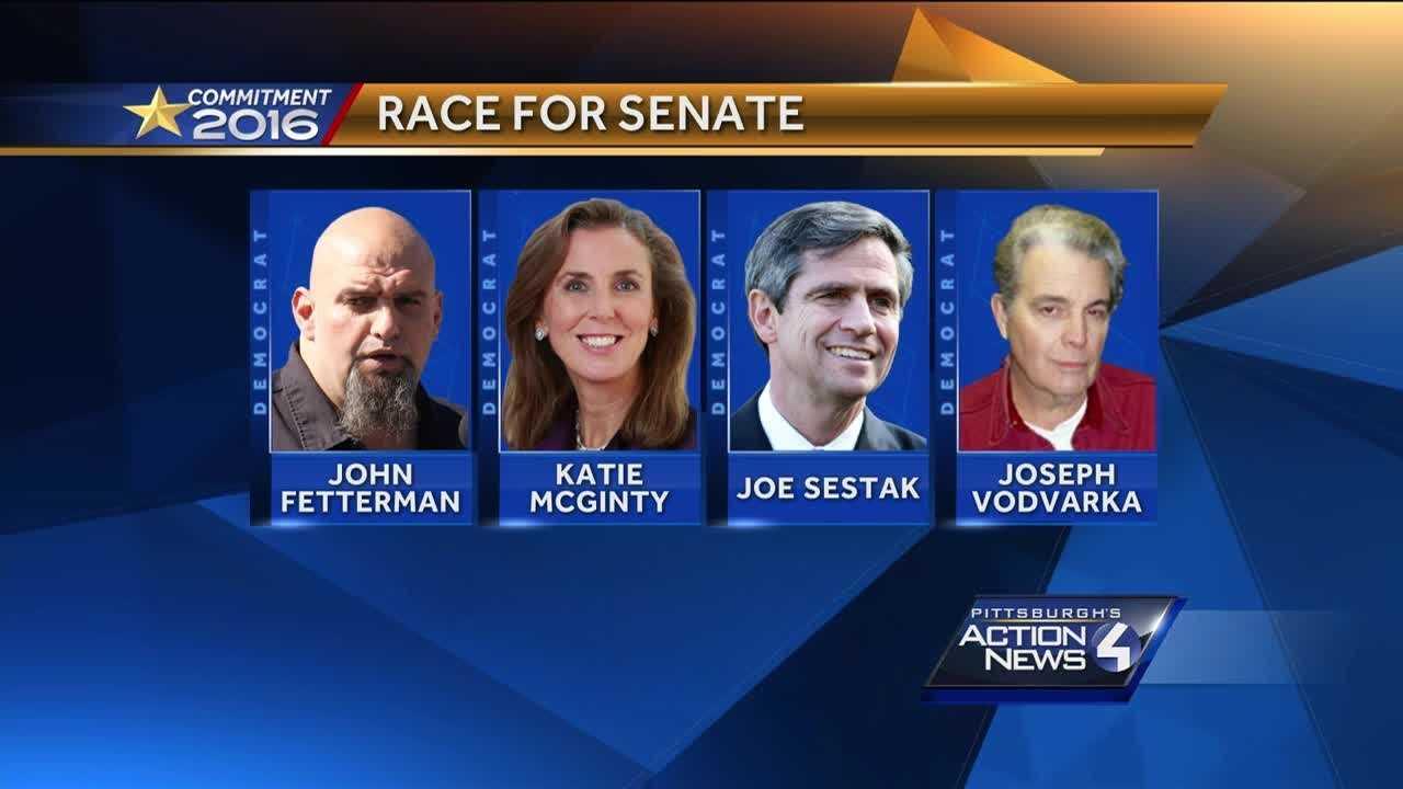 Senate candidates graphic McGinty, Fetterman, Sestak, Vodvarka