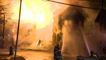 Investigators are looking for the cause of an early-morning blaze that ripped through five homes in Wilkinsburg.