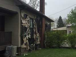 This house near the area of the explosion was damaged.