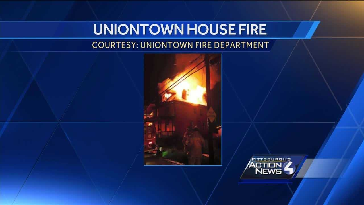 Crews battle house fire in Uniontown