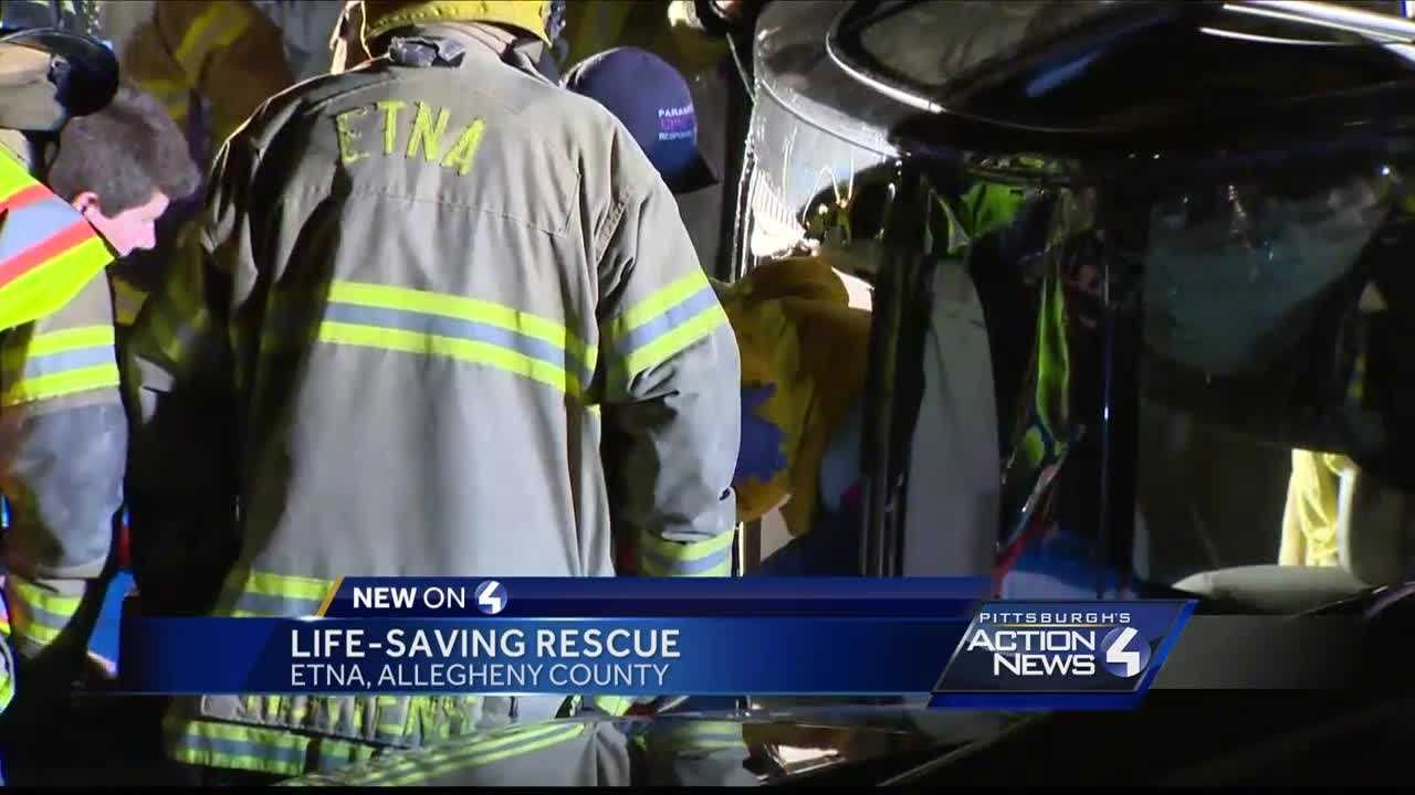 Woman rescued after crash in Etna