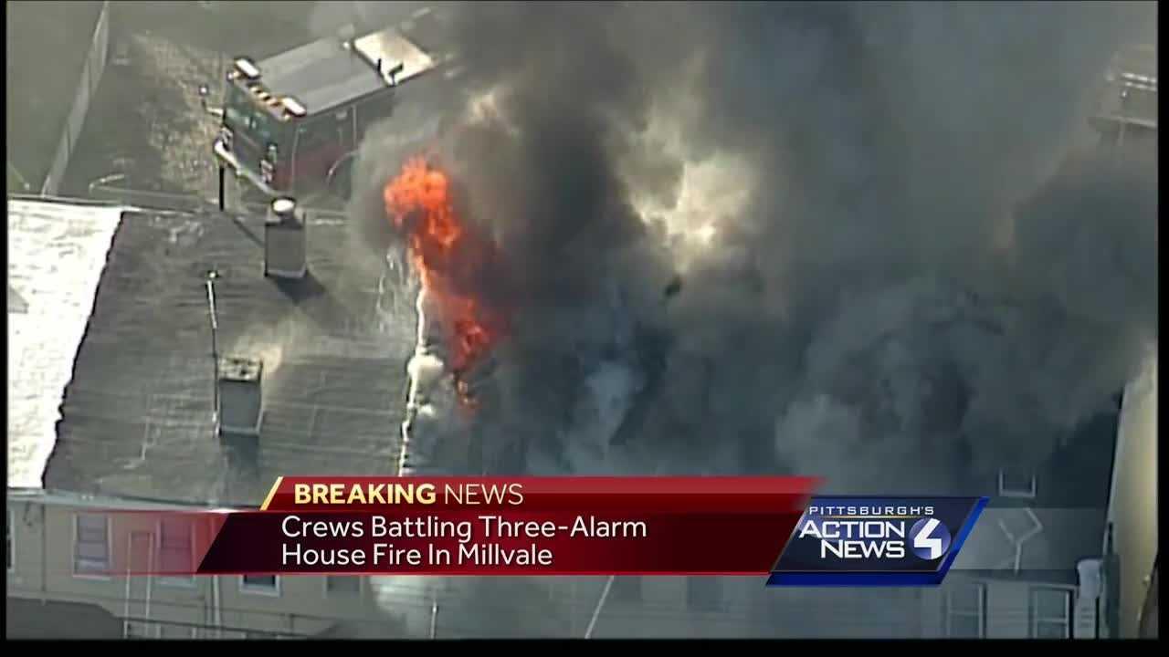 Crews battle three-alarm fire in Millvale