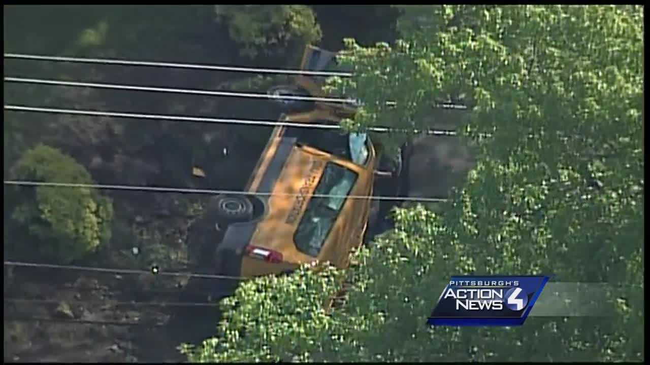 Driver trapped in school bus crash in Hempfield Township