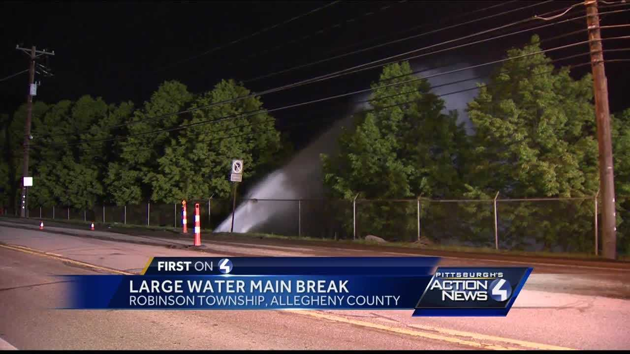 Water from broken main shoots into air in Robinson Township