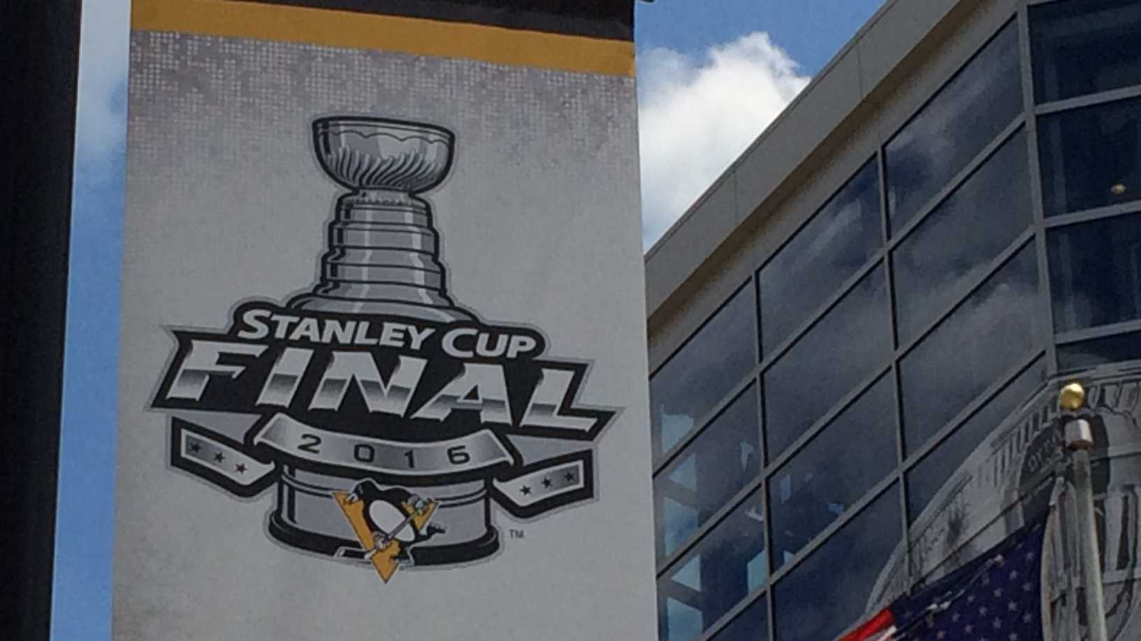 Stanley Cup Final banner outside arena