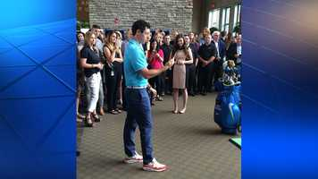 Rory McIlroy at the Dick's Sporting Goods headquarters