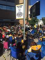 Pittsburgh Penguins fans converge around the big screen outside Consol Energy Center.
