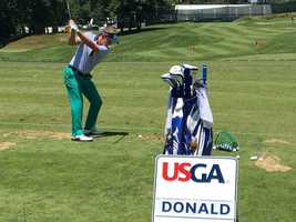 Luke Donald with the big swing on driving range at Oakmont