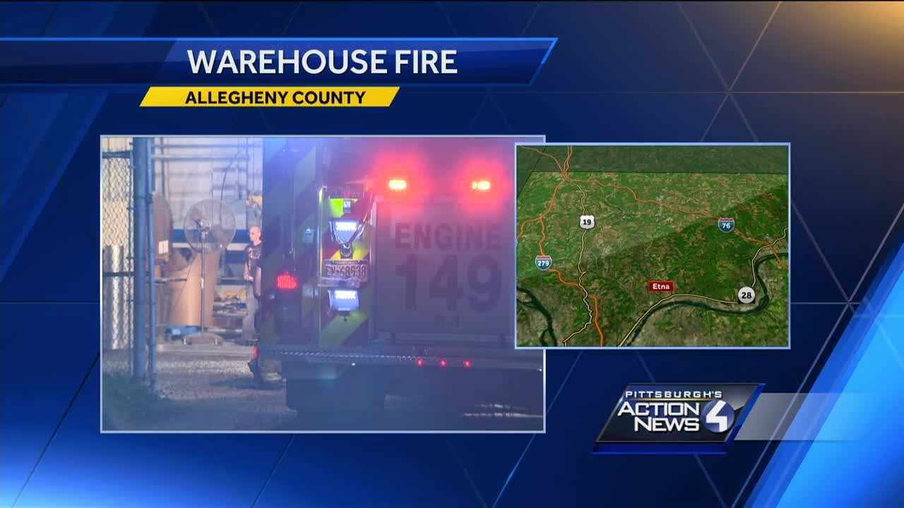 Fire breaks out inside of a warehouse in Etna