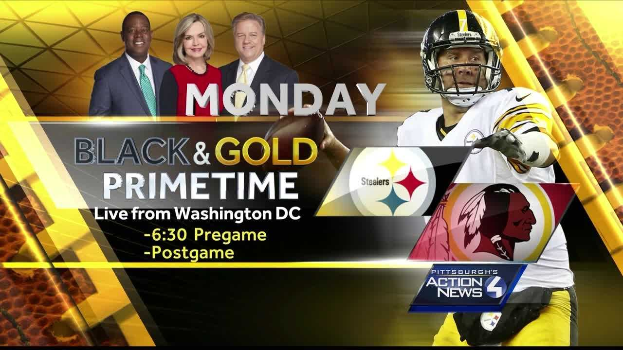Black & Gold Primetime graphic - Steelers Redskins