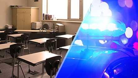 classroom, school, police lights