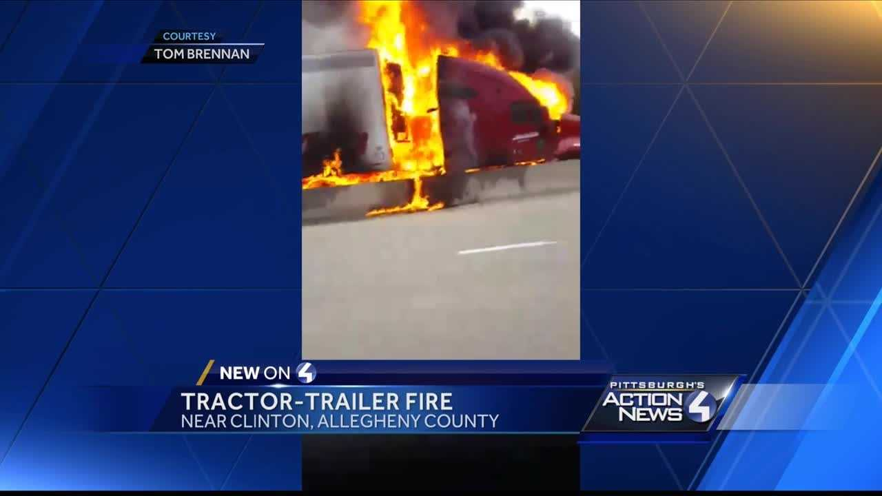 Tractor-trailer engulfed in flames on Parkway West, shuts down road