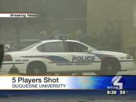 Five Duquesne University basketball players were shot on campus on Sept. 17, 2006.