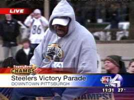 Feb. 7, 2006: Joey Porter and the Steelers take a memorable ride through downtown Pittsburgh in the Super Bowl XL victory parade.