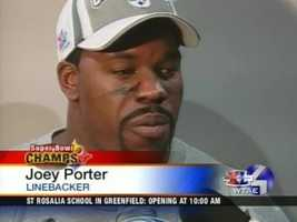 Feb. 5, 2006: Joey Porter dons a Super Bowl XL championship hat and talks to the media after the big game.