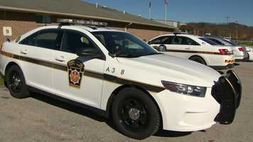 A Pennsylvania State Police trooper's car