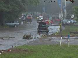 This is a look at the mud and debris left along Washington Boulevard in Highland Park, following flash flooding.