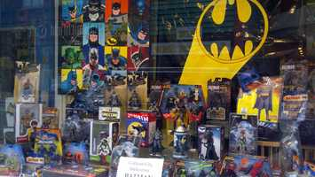 "The window of S.W. Randall Toyes and Giftes on Smithfield Street was full of Bat-merchandise, and the theme song from the 1960s ""Batman"" TV show greeted customers at the front door."