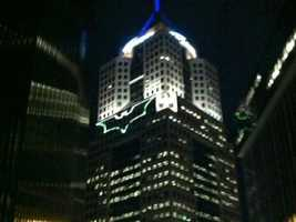 The Bat-signal shined on the Highmark building at Fifth Avenue Place.
