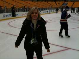 Sally Wiggin skates on the Winter Classic rink.