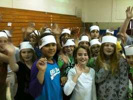 Washington Elementary school kids with deer antler hats (From: Sally Wiggin)