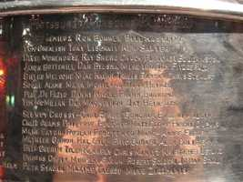 The names of the 2008-09 Pittsburgh Penguins team are inscribed on the Stanley Cup.