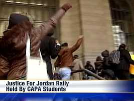 Pittsburgh CAPA students rally for Jordan Miles at the City-County Building downtown.