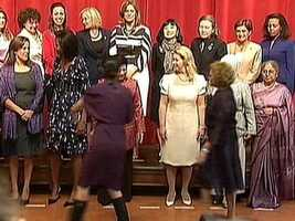 Michelle Obama poses for a group photo with all of the G-20 wives at CAPA.