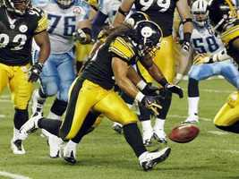 Troy Polamalu makes a one-handed interception against the Tennessee Titans.