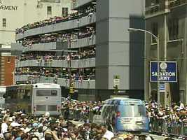 Fans packed parking garages along the parade route, hoping for a great view of their favorite Pens players.