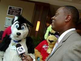 Andrew Stockey interviews a furry at Anthrocon.